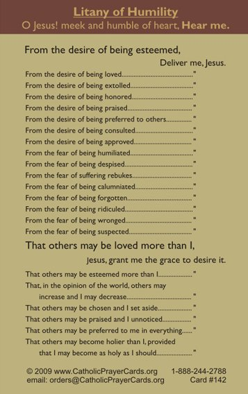 photograph about Litany of Humility Printable called Litany of Humility Prayer Card