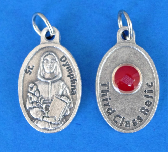ST DYMPHNA  RELIC MEDAL WITH CLOTH TOUCHED TO HER RELIC