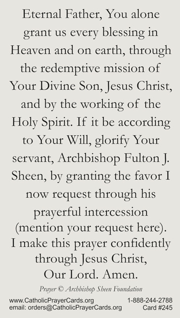Venerable Archbishop Fulton J  Sheen Prayer Card