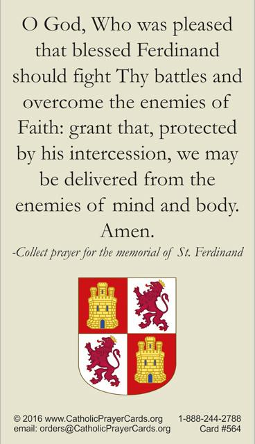 St  Ferdinand III Prayer Card