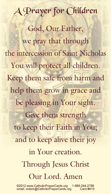 photograph regarding St Nicholas Prayer Printable called St. Nicholas Prayer for Youngsters Holy Card