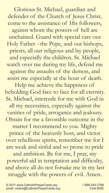 Prayer to St  Michael the Archangel Holy Card