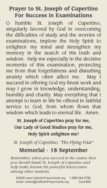 photo regarding Printable Prayer to St. Joseph named ST JOSEPH CUPERTINO PRAYER CARD