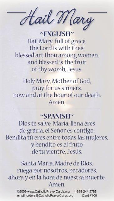 Bilingual Hail Mary Prayer Card English Spanish