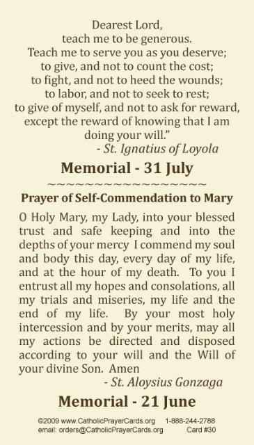 St Aloysius Gonzaga St Ignatius Of Loyola Prayer Card