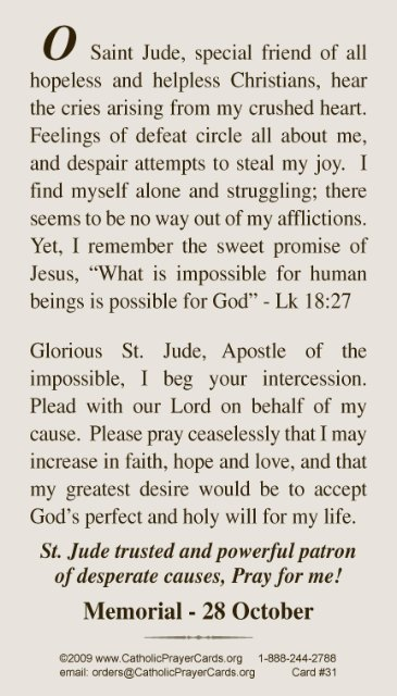 photograph about Printable Prayer to St. Joseph called ST JUDE PRAYER CARD