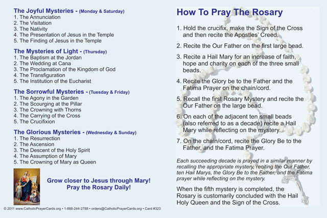 picture relating to Printable Catholic Prayers named How toward Pray the Rosary Fold-earlier mentioned Card