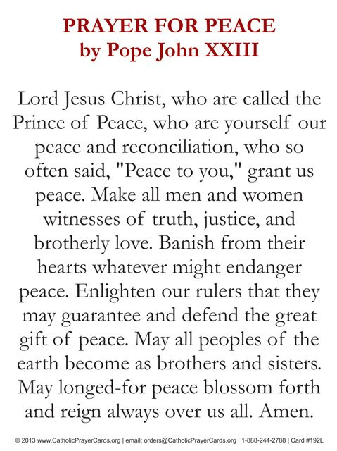 Pope John XXIII -Prayer for Peace Card